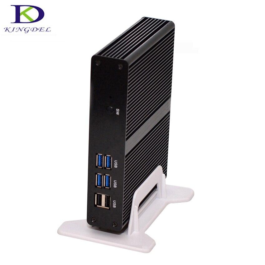 Kingdel Fanless Mini PC  With Intel Celeron 2955U/3205U Dual Core HDMI WiFi USB 3.0 LAN Barebone PC Micro Computer TV BOX