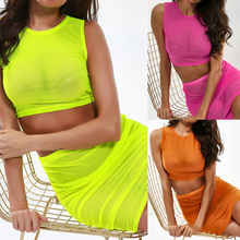 Women Mesh Sheer Bodycon Two Piece Crop Top and Skirt Set Bandage Dress Party sheer mesh insert zip back fishtail skirt