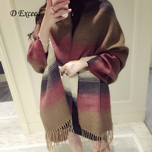 Lady Blanket Bulk Scarf Tartan Grid Plaid Scarves Wrap Shawl Multi-Colored For Women Ladies Tassel ScarvesSC190122-1