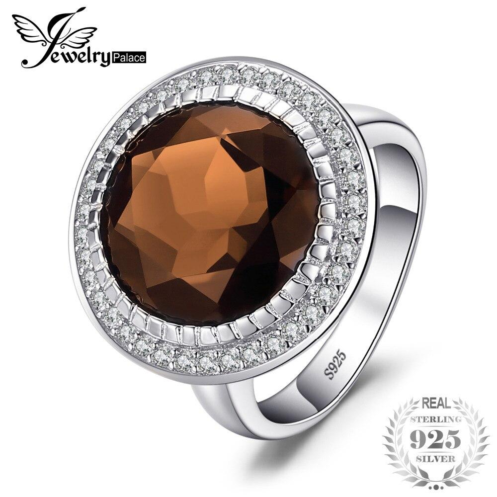 Jewelrypalace lujo marca 10.27ct redondo anillo de cuarzo ahumado natural 100% real 925 plata esterlina joyería de la vendimia para la Mujer