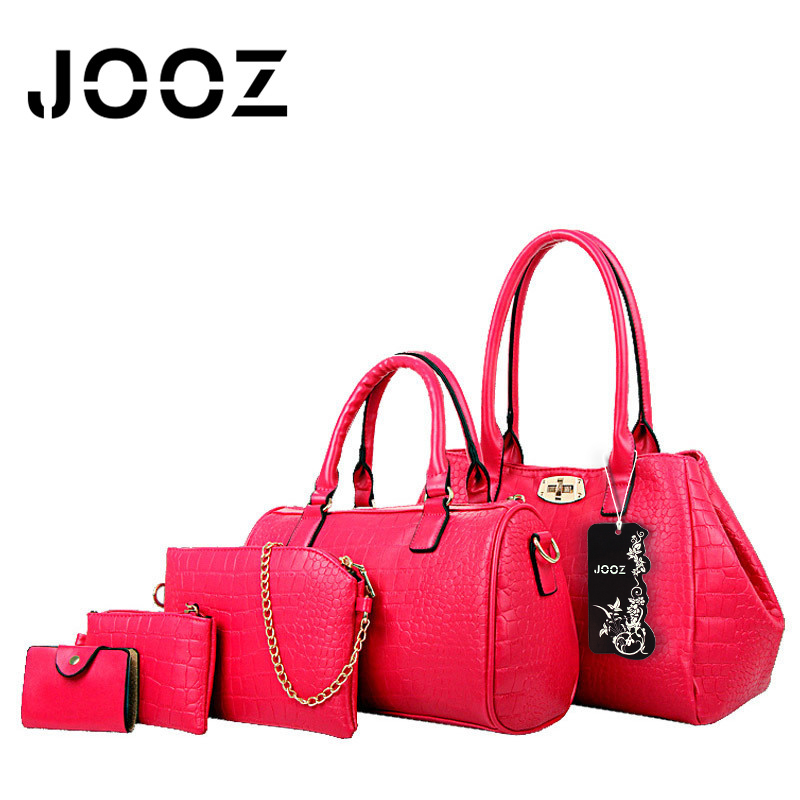 JOOZ Brand Luxury Alligator Pattern 5 Pcs Composite Bags font b Set b font Women Shoulder