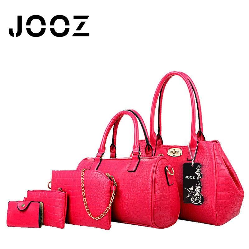 ФОТО Jooz Brand Luxury 5 Pcs Alligator Women Leather Composite bags Set Women Shoulder Crossbody Bags Handbag Purse Clutch Bag
