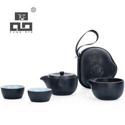 TANGPIN zwart servies keramische theepot theekopjes een thee sets draagbare reizen thee sets met reistas