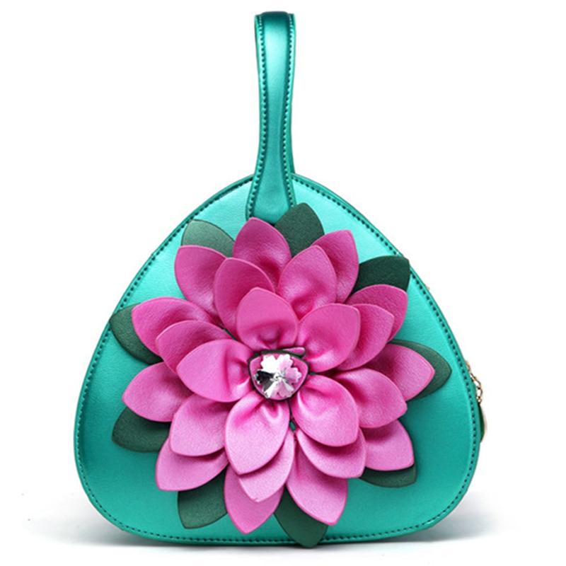 Top PU Leather shoulder crossbody bags for women luxury Handbags female Bags Diamante handmade flower design Ladies Hand Bag