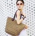 Novo 2016 Moda Womens Straw Verão Tecer Shoulder Tote Shopping Praia Bolsa da Bolsa Sacos De Praia de Palha