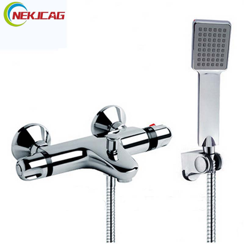 Modern Bath Shower Faucet Set Single Lever Thermostatic Shower Mixer Tap Plastic Handheld Shower Wall Mounted with Bracket modern thermostatic shower mixer faucet wall mounted temperature control handheld tub shower faucet chrome finish