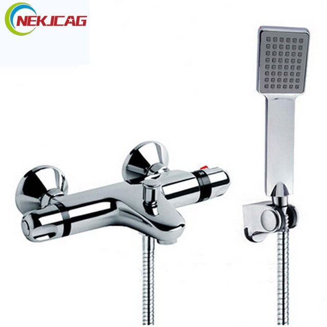 Modern Bath Shower Faucet Set Single Lever Thermostatic Shower Mixer Tap  Plastic Handheld Shower Wall Mounted