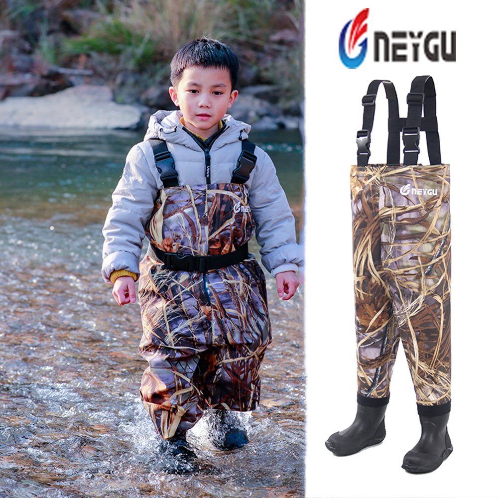 NeyGu kids chest wader for water and muddy playing child waterproof and breathable wader with boots