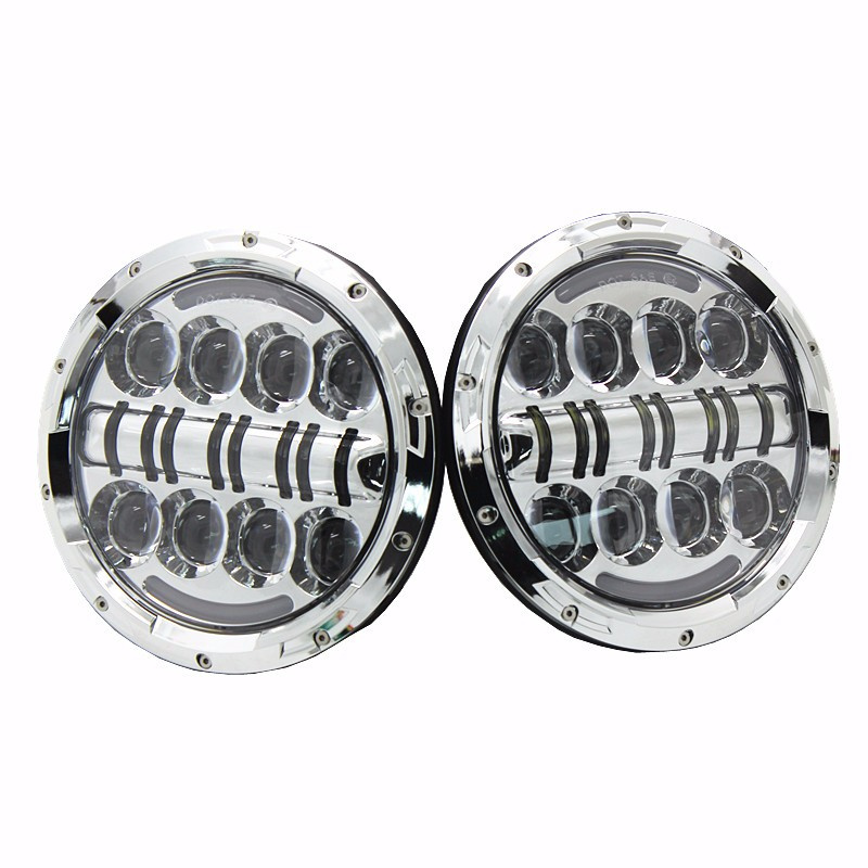 New Car Accessories 7 Round 80W LED Hi/Lo Beam H4 Projector Headlight for Jeep Wrangler JK Land rover defender Headlamp colight 1pair 7 inch 30w led headlight h4 hi lo beam car styling fog light super drl parking light for jeep hummer land rover