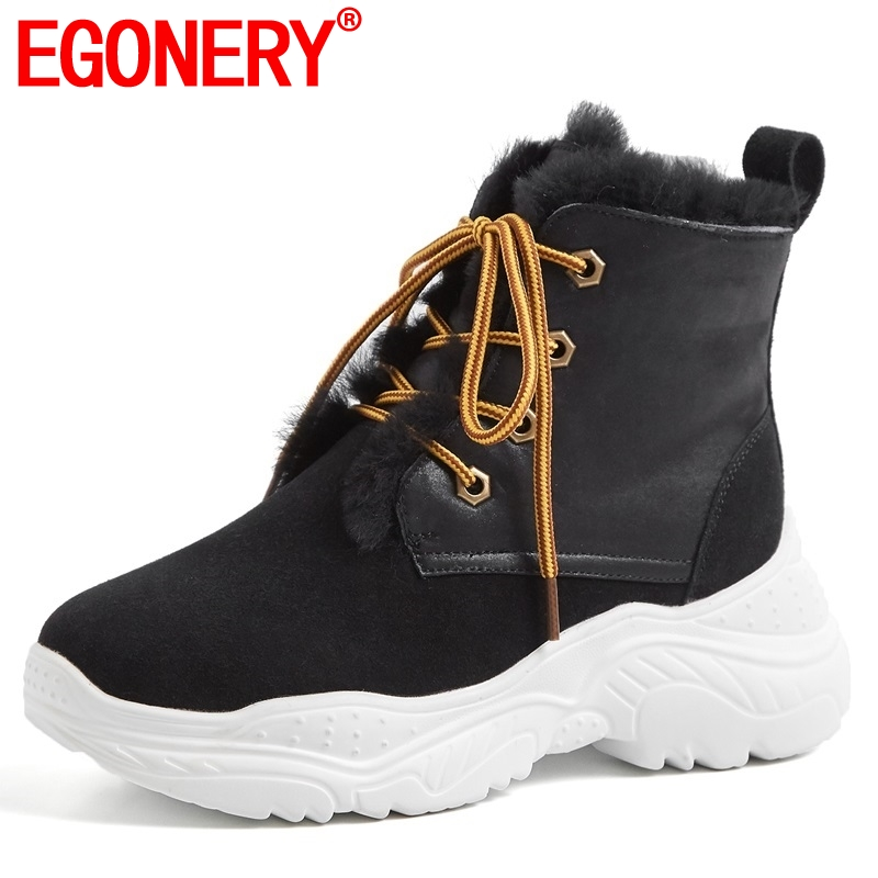 EGONERY women snow boots witer new genuine leather casual shoes plush warm fur inside platform cross-tied round toe ankle boots