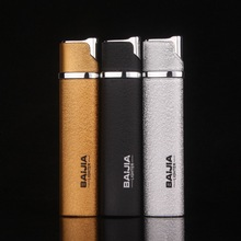 Fashion Frosted Lighter Pressing Type Flameless Straight windproof Cigarette Lighters Inflatable Gas Butane Metal Fair Gift