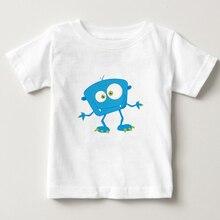 Boys Girls T-shirts Cartoon blue monster T Shirt Children 3T-8T Short Sleeve Shirts kids funny tee baby cute t shirt  NN