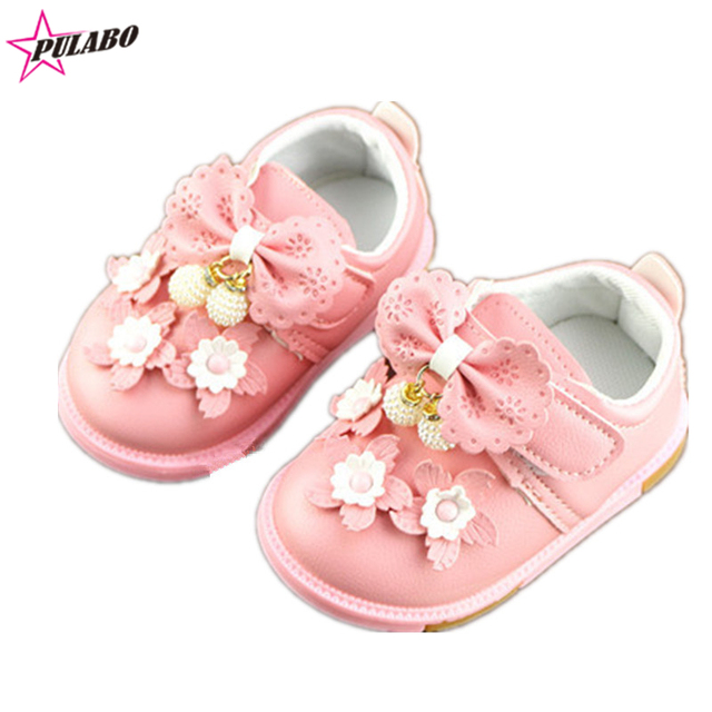 2016 Baby Girls PU Leather Flower Princess shoes Infant Toddler Prewalker Kids Soft Sole First Walker Children boots
