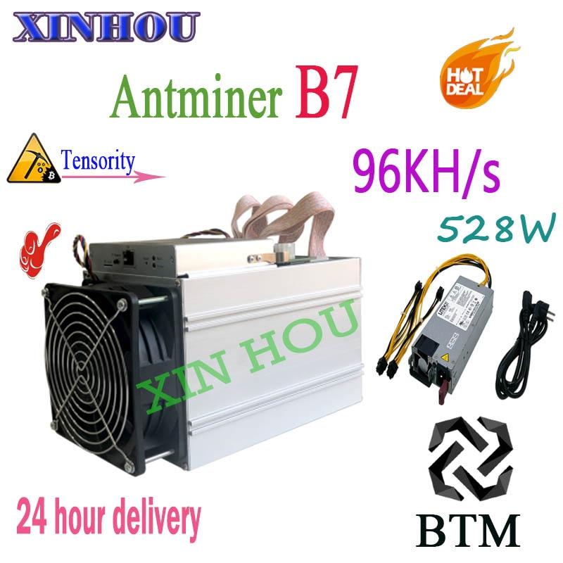 New Antminer B7 96KH/s Asic Mineiro Com FONTE de ALIMENTAÇÃO 528 W BTM Tensority BTM mineração melhor do que Antminer Mineiro s9 S11 S15 T15 Z9 A9 M3x M10