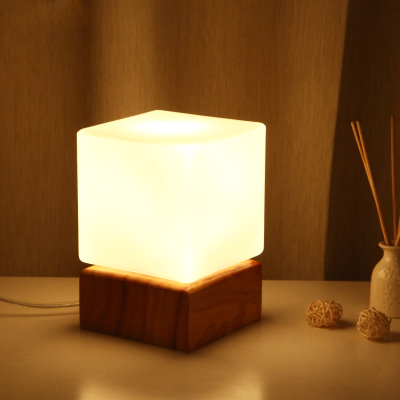 Loft Edison Industrial Vintage Style Square Wooden&Glass Desk Lamp Talbe Light Bedroom Cafe Bar Club Coffee Shop Decoration
