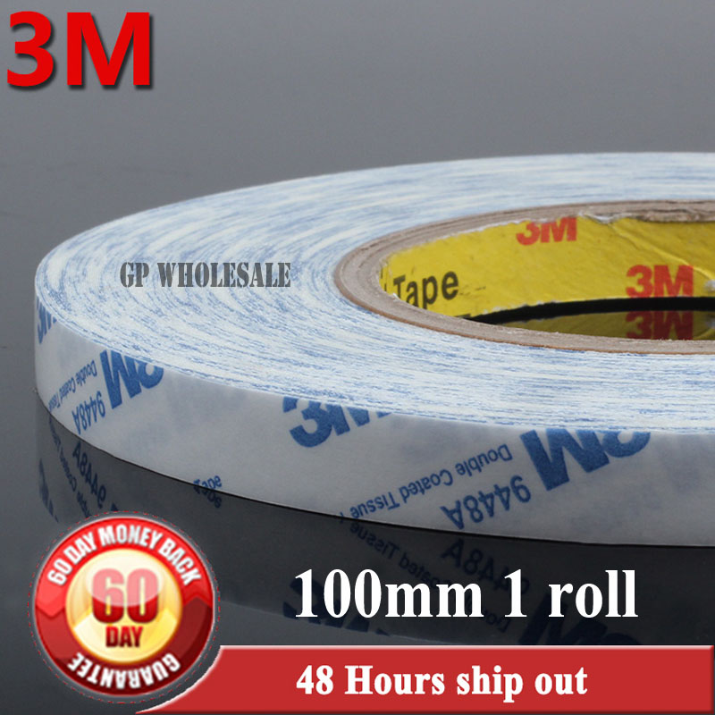 10cm, (100mm*50M*0.15mm) 3M9448 White Double Sided Adhesive Tape for Poster Nameplate, Control Panel, Phone Tablet Screen Repair stainless steel 2 tanks electric deep fryer commercial electric fryer french fries fried chicken deep frying furnace wk 82