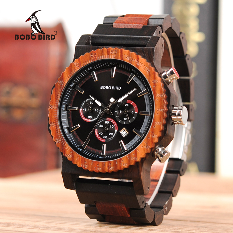 BOBO BIRD Big Men Watch Top Brand Luxury Wood Wristwatch Date Display relogio masculino as Gift Accept Custom Logo V-R15BOBO BIRD Big Men Watch Top Brand Luxury Wood Wristwatch Date Display relogio masculino as Gift Accept Custom Logo V-R15