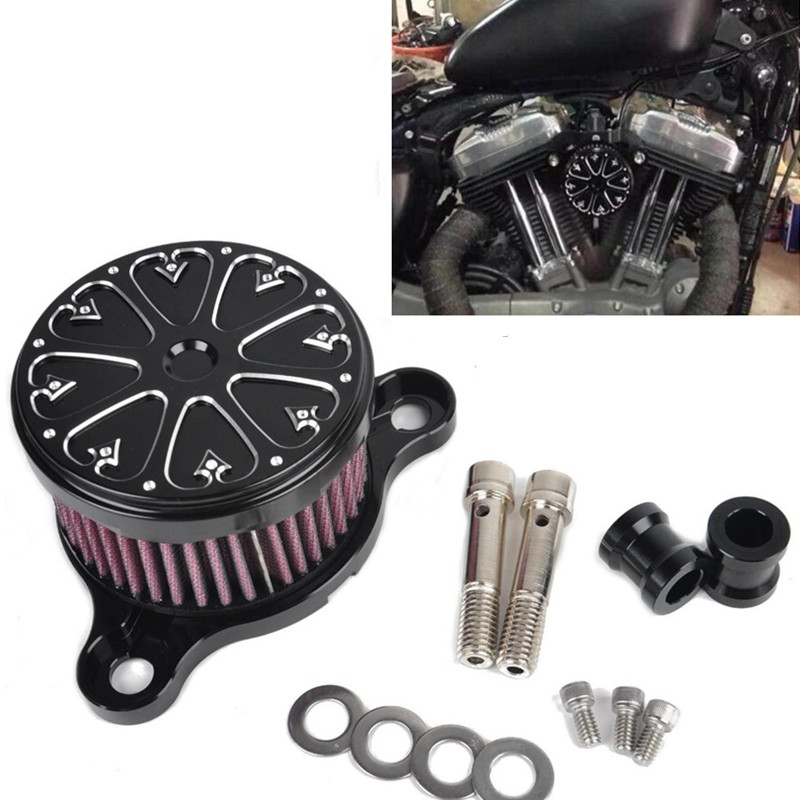 ФОТО CNC Air Cleaner+Intake Filter System RC Case for HD Harley Davidson Sportster XL 883 1200 2004-UP Air Filter for Rough Crafts