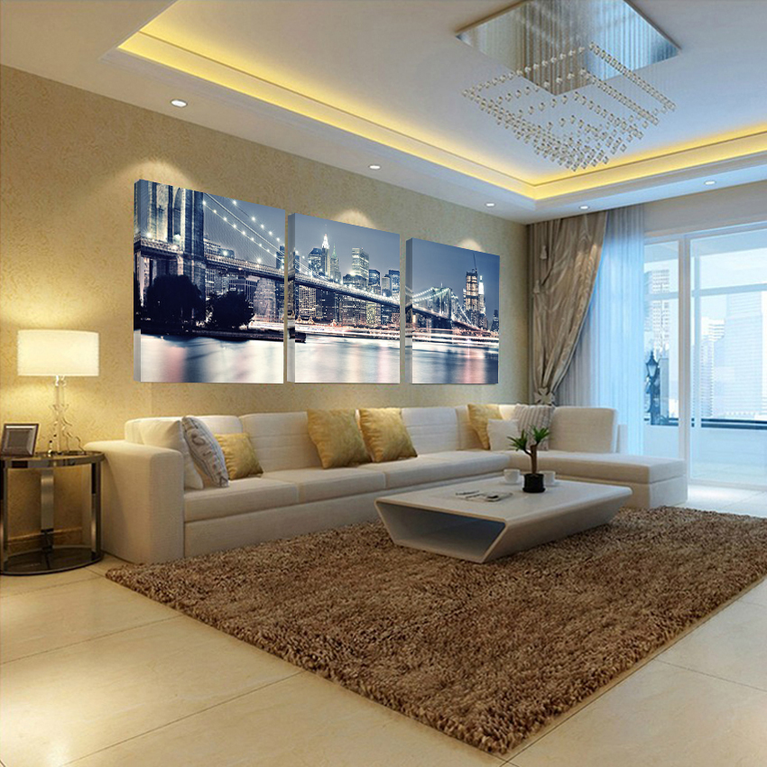 No frames picture 3 piece modern cheap home decor wall for Cheap home decorations