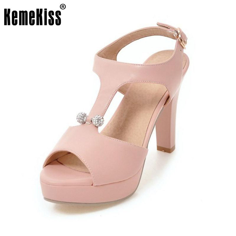 Kemekiss Women High Heel Sandals Peep Toe Shoes Women T Strap Ankle Strap Heels Sandal Platform Lady Daily Footwear Size 32-43 real image green women sandal with platform wedge high heels open toe ankle strap comfortable shoes ladies new true to us size
