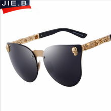 2017 New Fashion Oval Womens Brand Luxury  Sunglasses oculos Men Oversized Rimless Cat Eye Sun Glasses Metal Skull Frame