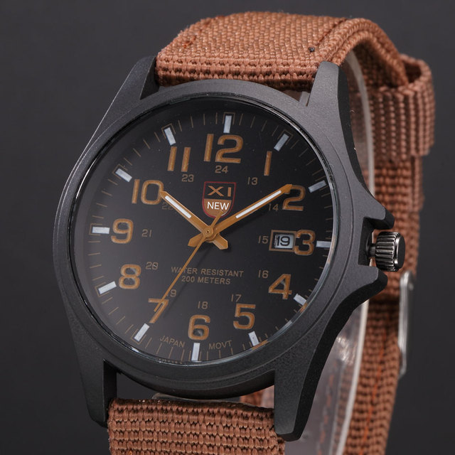 7906fca6227 Nylon Strap Stainless Steel Back Quartz Watch with Calendar XINEW Military  Watches for Men Brand Original