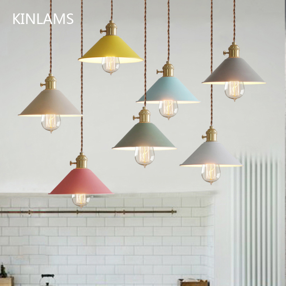 Modern Colorful Pendant Lights Macaron E27 Switch lamp for Clothes Bar Study Dining Room home Lighting Decor in Pendant Lights from Lights Lighting