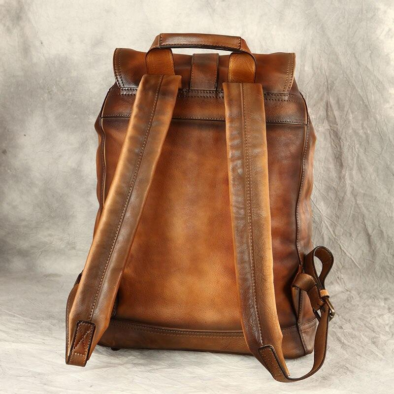 Mochila De marca Original hecha a mano, bolsa de piel de becerro importada italiana, bandolera doble de cuero auténtico Vintage de gran capacidad para hombres - 3