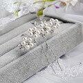 1 Unidades de Cristal de Boda Nupcial Perla de La Flor Pernos de Pelo Tocado Elegante Joyería de dama de Honor de Velo de Novia Accesorios Para el Cabello