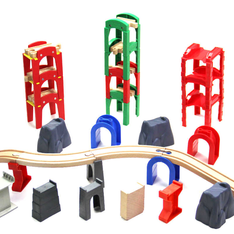 compatible wooden train track wooden piers electric rail car scene Stacked Pile accessories