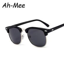Classic Half Square Frame Sunglasses Men Women Retro Brand Designer Sem
