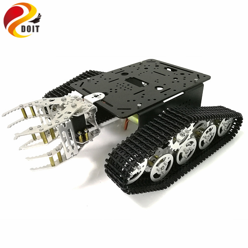 DOIT Tank Chassis with Mechanical Claw, Tracked Chassis with Gripper, Tracked Vehicles, Tank Robot,RC Tank for DIY Robot Project diy tracked robot frame model 7 dof abb manipulator tk3a tracked chassis with motor servo control board and xd 229 auno r3