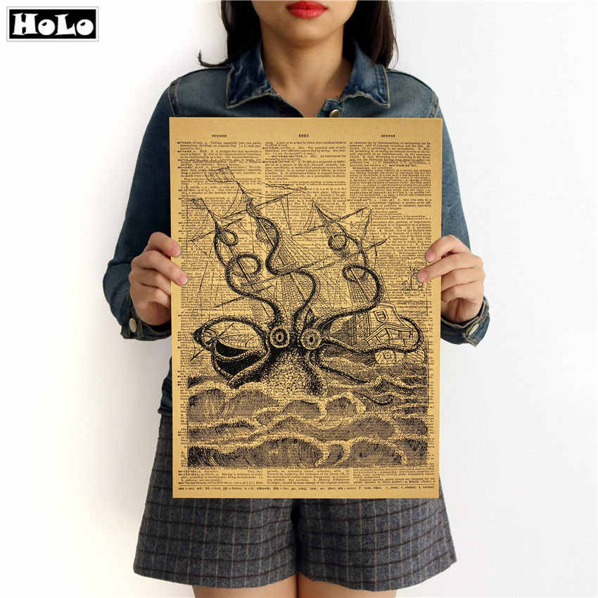 Old Newspaper Octopus Vintage Poster Retro Kraft Paper Living Room Painting Art Wall Sticker 42x30cm GGA016