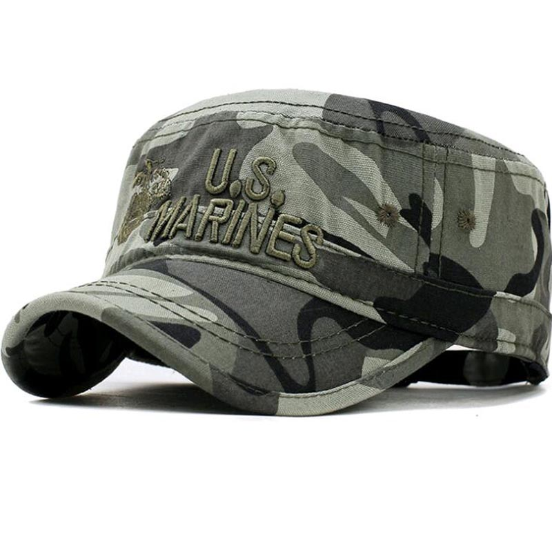 The US Marines cap Spring Cotton outdoor sun cap for Men Embroidery sailor cap Hat camouflage leisure summer captain cadet cap summer can be folded anti uv sun hat sun protection for children to cover the sun with a large cap on the beach bike travel