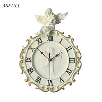 European angel wall clock retro personality rural and watches ClassicFor style living room bedroom mute Cupid resin angel clock