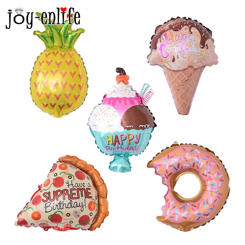 JOY-ENLIFE 1pcs Mini Pineapple Donuts Ice Cream Pizza Foil Balloons Summer Pool Party Decor Kids Birthday Wedding Party Supplies