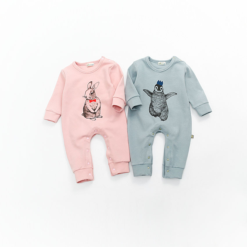 2017 Spring Baby Romper Long Sleeve Baby Boy Girl Clothes Rabbit Newborn Clothing Casual Cotton Infant Jumpsuit Toddler 2 Color