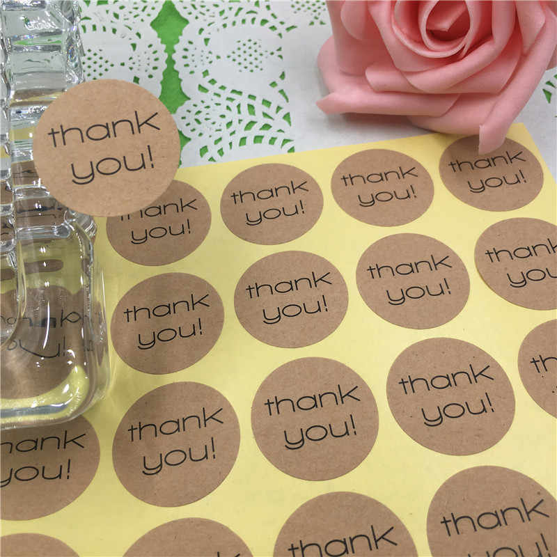 100Pcs/Lot Diameter 3cm Kraft Paper Sticker Labels Printed With Various Thank You Pattern for Kid Stationery Stickers Customized