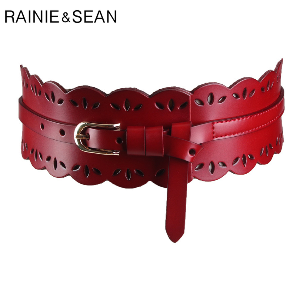 RAINIE SEAN Leather Cummerbund Women Elegant Wide Solid Wine Red Belt Cummerbunds Female Corset Ladies Broadband Waist Belts