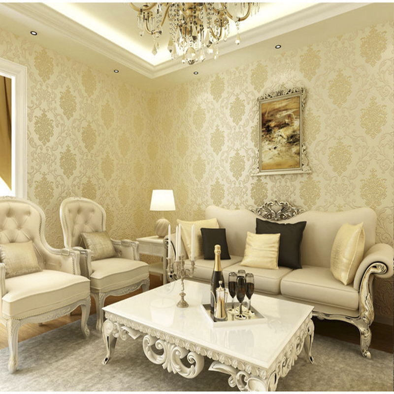 3D wallpapers European Luxury Floral Wallpaper Roll Embossed Gold ...