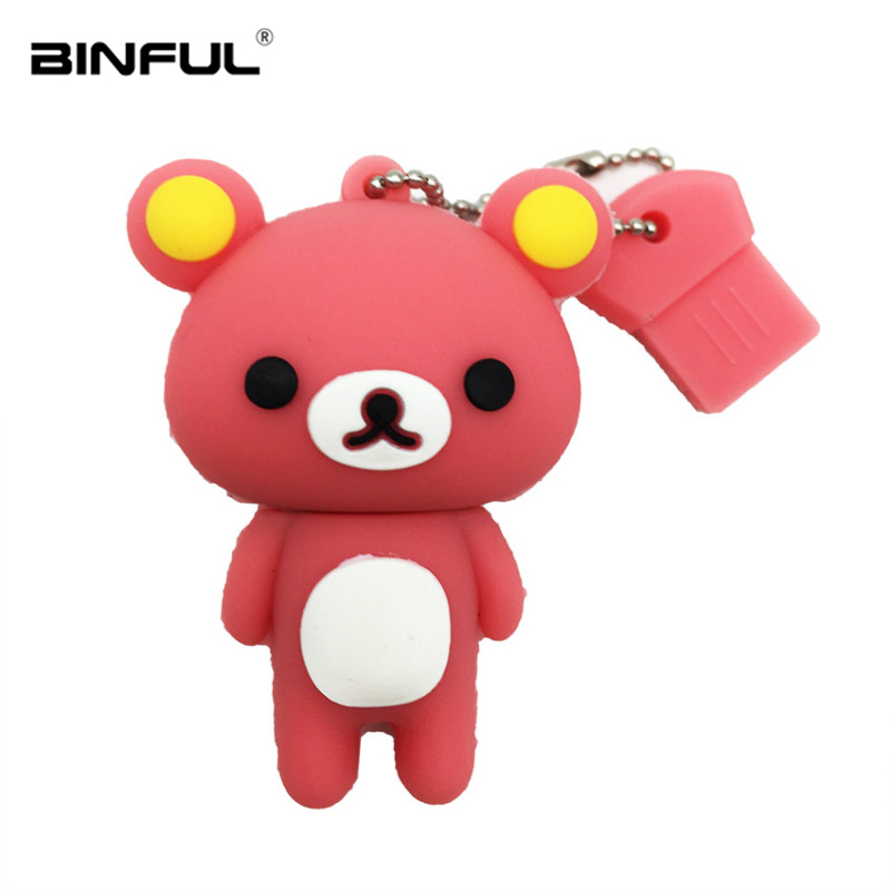 Lovely Bear Usb Flash Drive 32gb Silicone Cartoon Usb 2 0 Pen Drive 4gb 8gb 16gb 32gb 64gb Flash Memory Stick 128g Pendrive Gift in USB Flash Drives from Computer Office