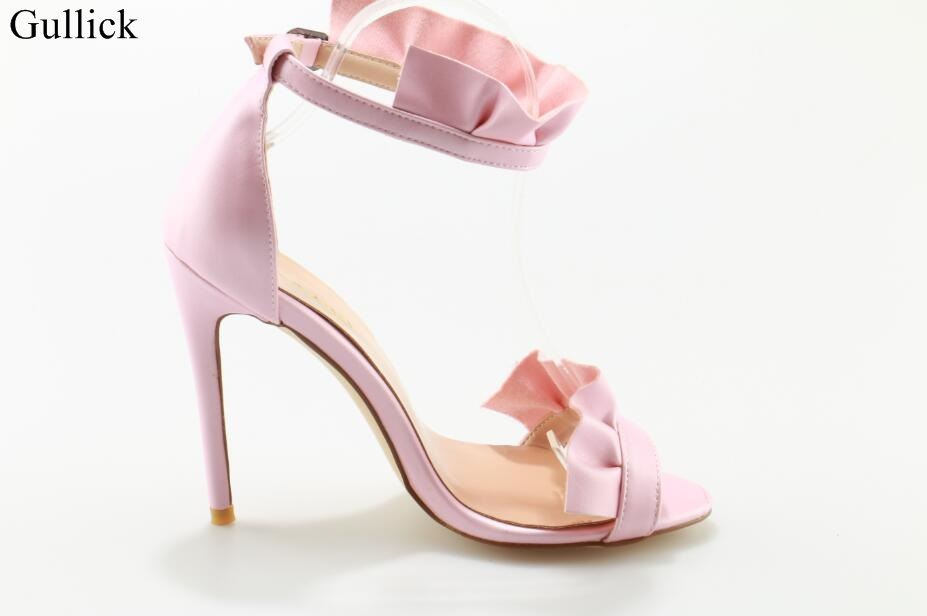Plus Size 10 Sexy Pink Ruffles Sandals High Heel Peep Toe Cut-out Ankle Strap Dress Shoes 2018 Summer Fashion Shoes Real Photo