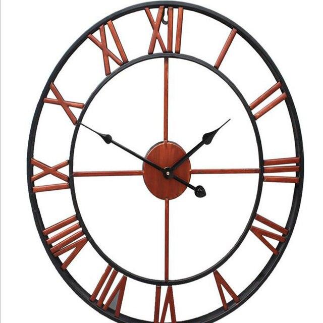surdimensionne 3d fer decoratif horloge murale retro grand art equipements chiffres romains conception la horloge sur