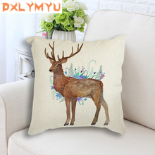 Nordic Decoration Animal Deer Flower Throw Pillow Case 45x45cm Linen Seat Cushion Decorative Cushion Cover for Sofa Home Decor картина escalator 80х120 см kare картина escalator 80х120 см