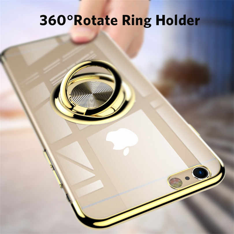 Clear Ring Standhouder Case Voor Iphone 11 Pro Max Magneet Adsorptie Case Voor Iphone 7 8 6 S Plus X Xr Xs Max Tpu Silicone Cover