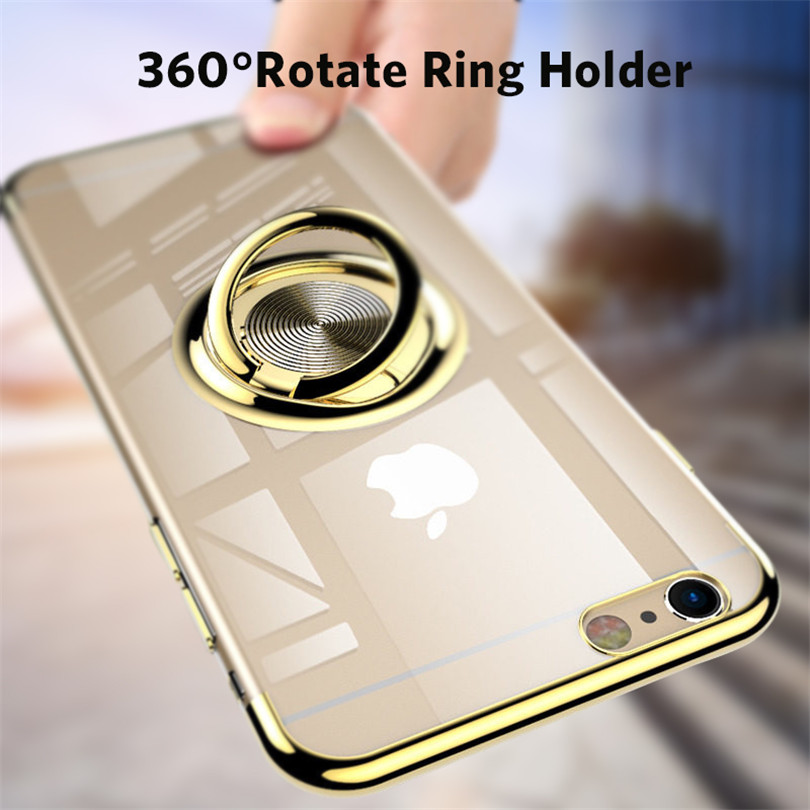 Clear <font><b>Ring</b></font> Stand Holder <font><b>Case</b></font> For <font><b>iPhone</b></font> <font><b>Cases</b></font> <font><b>With</b></font> Magnet Adsorption For <font><b>iPhone</b></font> 7 <font><b>8</b></font> 6 6S <font><b>Plus</b></font> X XS XR Xs Max TPU Silicone Cover image