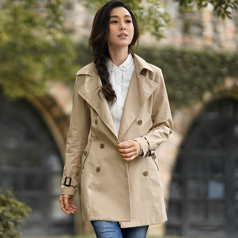 INMAN Women Autumn Dress Solid Color Cotton Lapel   Trench   Coat