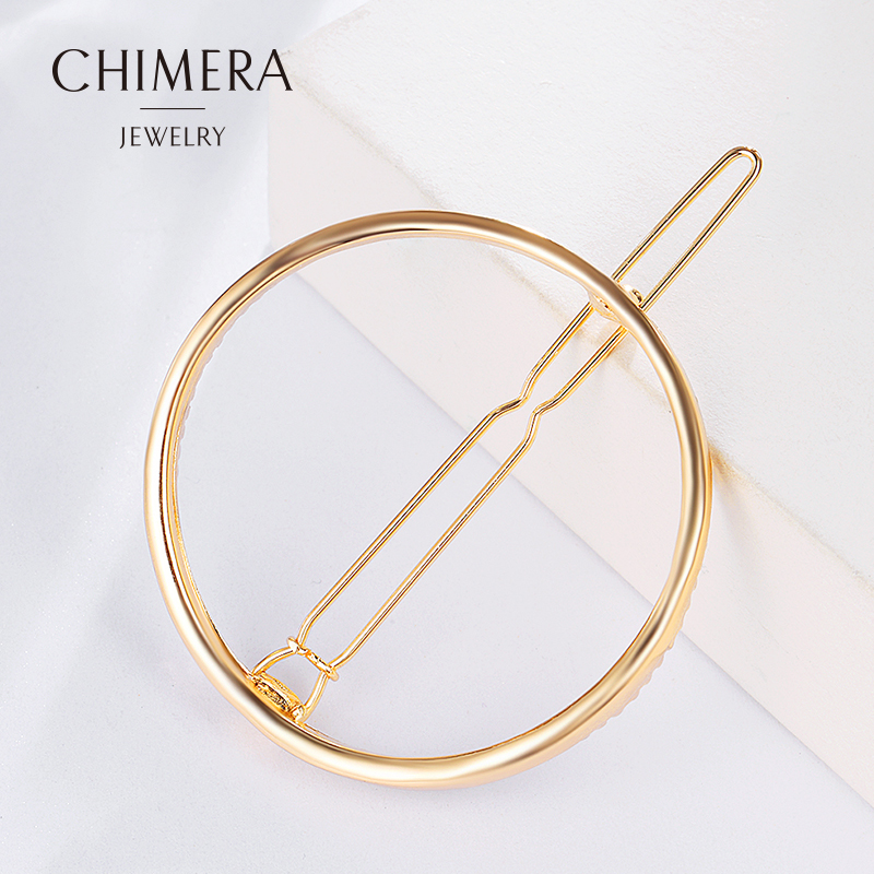 Chimera Fashion Metal Gold Color Circle Hollow-out Barrettes Girls Hair Pins Hair Clip Hair Accessories for Women 3160459