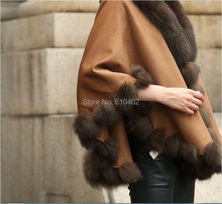 cape Manteau brun Col Manteau De Dame wraps Renard châle Cachemire Poncho Réel Véritable W0gnBxq8xP