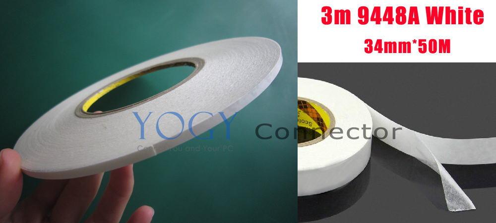 1x 34mm 3M 9448A White Double Sided Adhesive Tape Sticky for LCD /LED /Screen /Nameplate /Housing original 4mm 50m 3m 9448 black white double sided glue tape for macbook pro screen front glass phone touch lcd screen assemble
